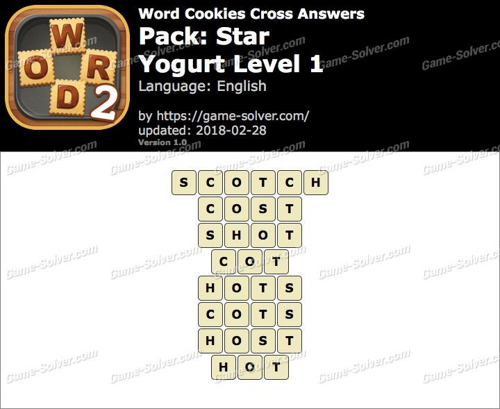 Word Cookies Cross Star-Yogurt Level 1 Answers
