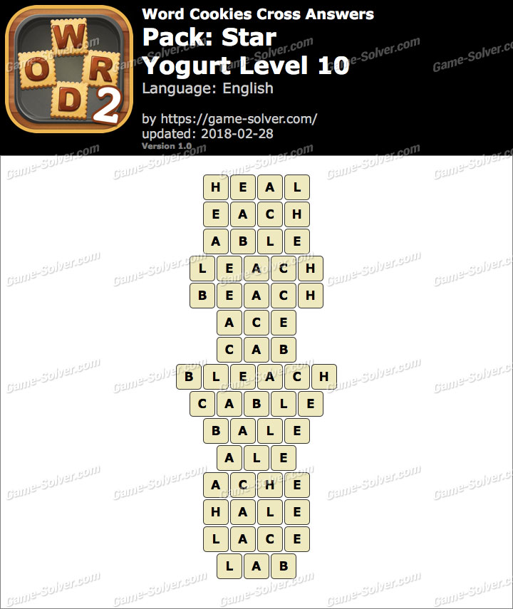 Word Cookies Cross Star-Yogurt Level 10 Answers