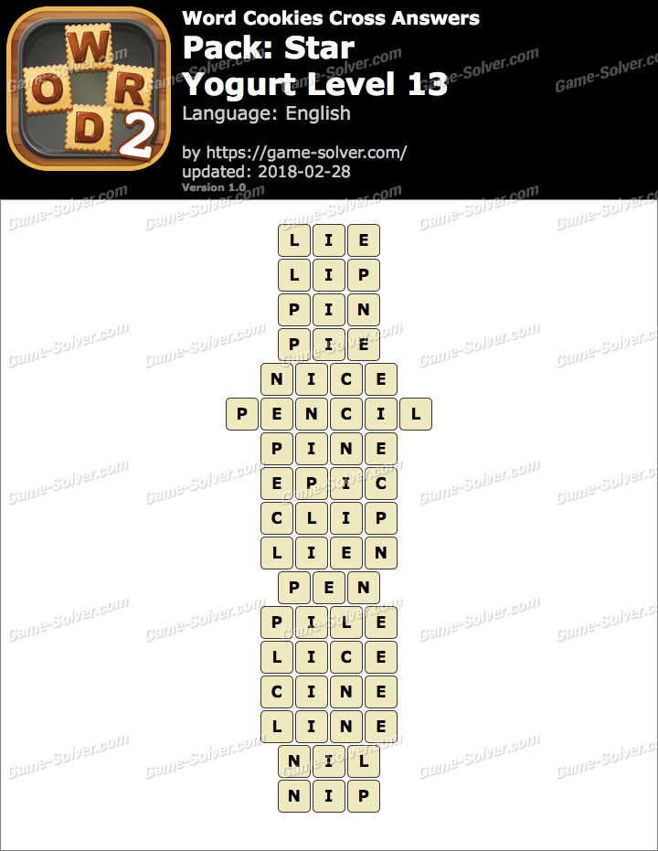 Word Cookies Cross Star-Yogurt Level 13 Answers