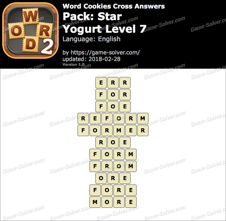 Word Cookies Cross Star-Yogurt Level 7 Answers
