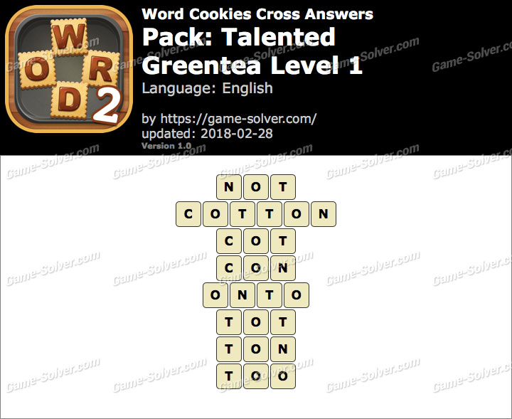 Word Cookies Cross Talented-Greentea Level 1 Answers
