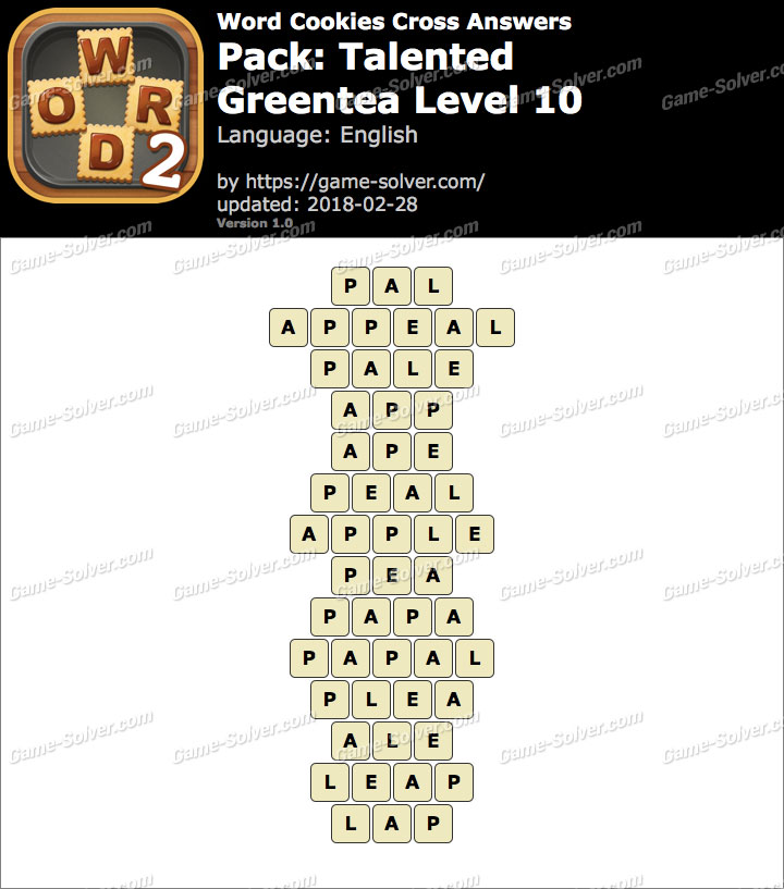 Word Cookies Cross Talented-Greentea Level 10 Answers