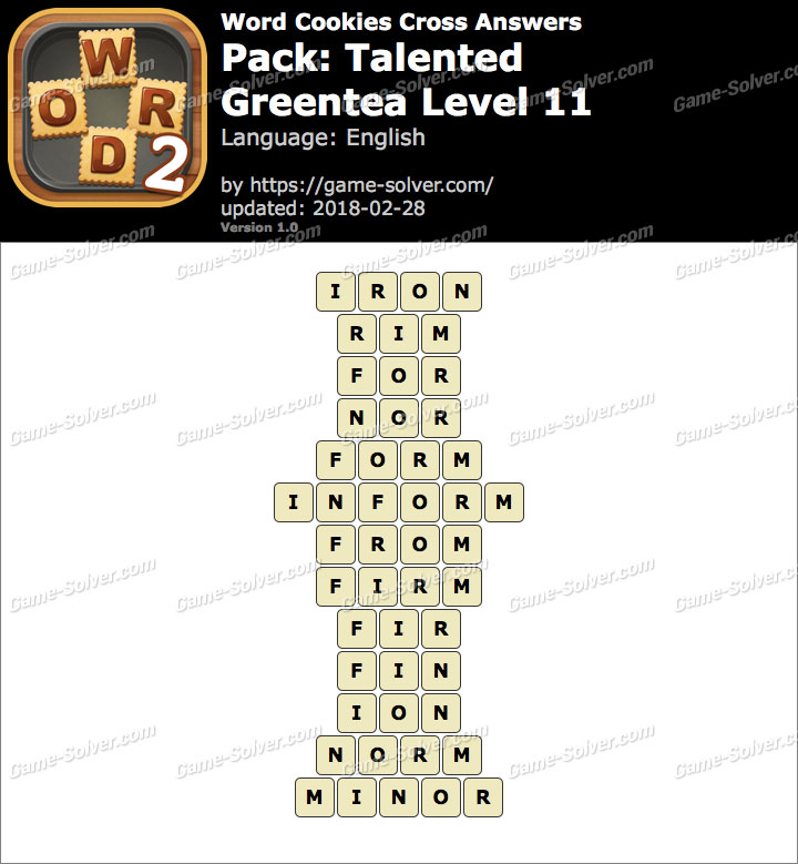 Word Cookies Cross Talented-Greentea Level 11 Answers