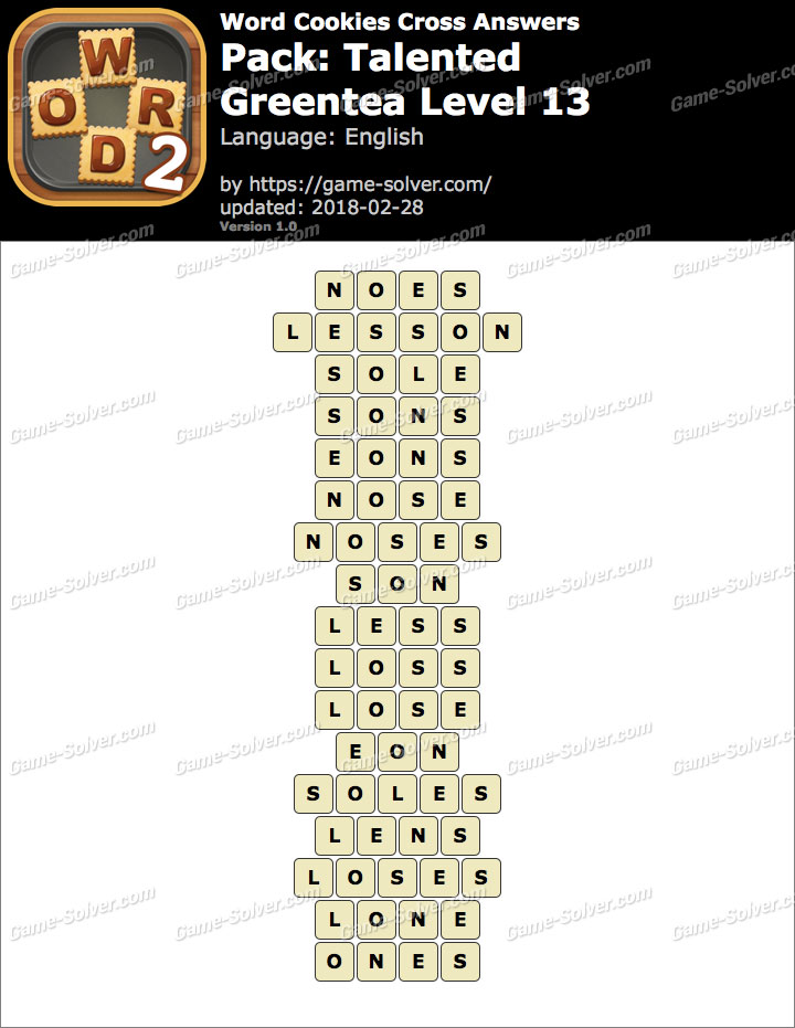 Word Cookies Cross Talented-Greentea Level 13 Answers