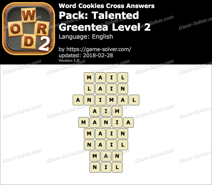 Word Cookies Cross Talented-Greentea Level 2 Answers