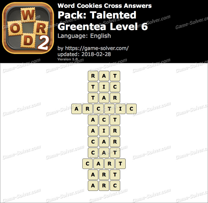 Word Cookies Cross Talented-Greentea Level 6 Answers