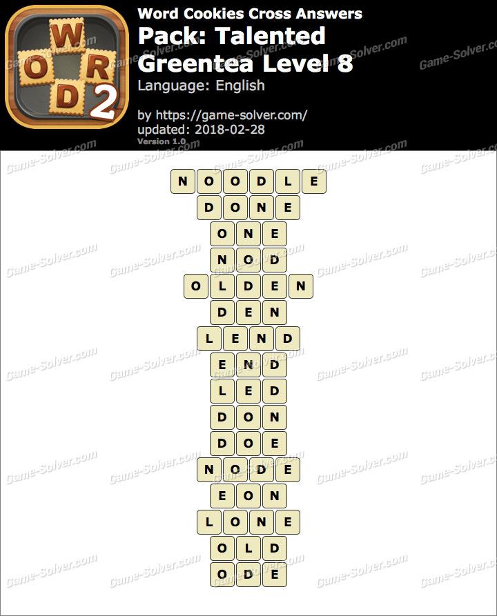 Word Cookies Cross Talented-Greentea Level 8 Answers