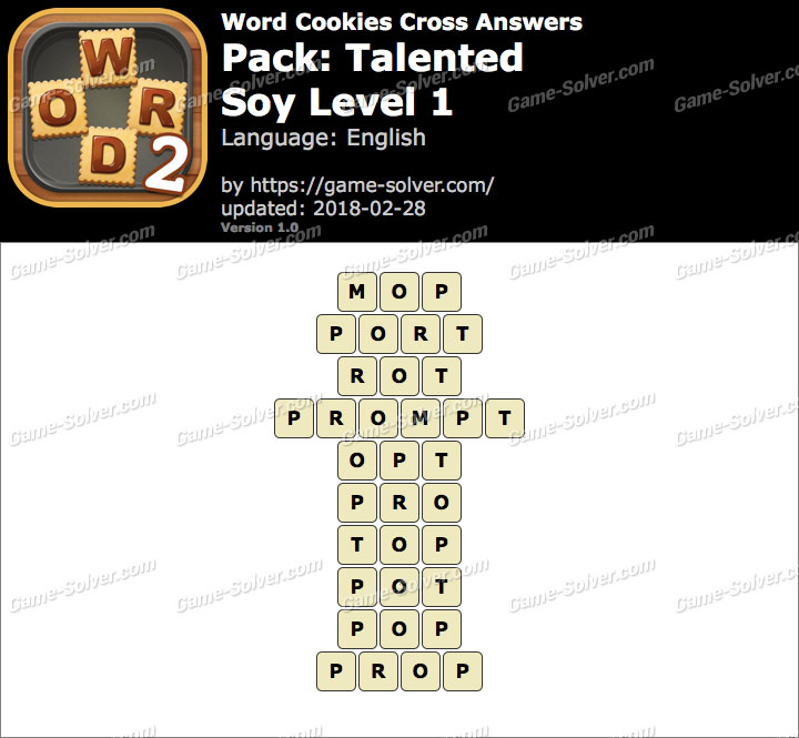 Word Cookies Cross Talented-Soy Level 1 Answers