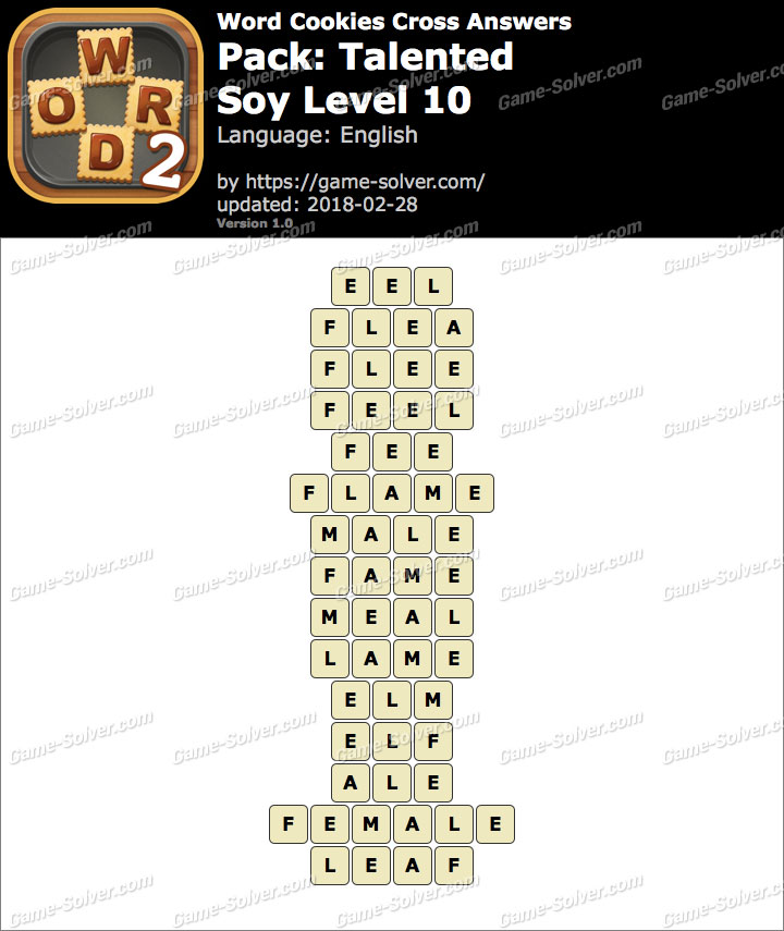 Word Cookies Cross Talented-Soy Level 10 Answers