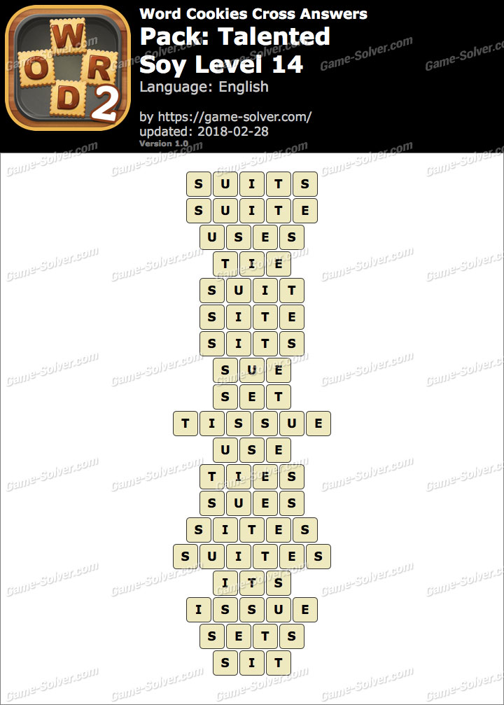 Word Cookies Cross Talented-Soy Level 14 Answers