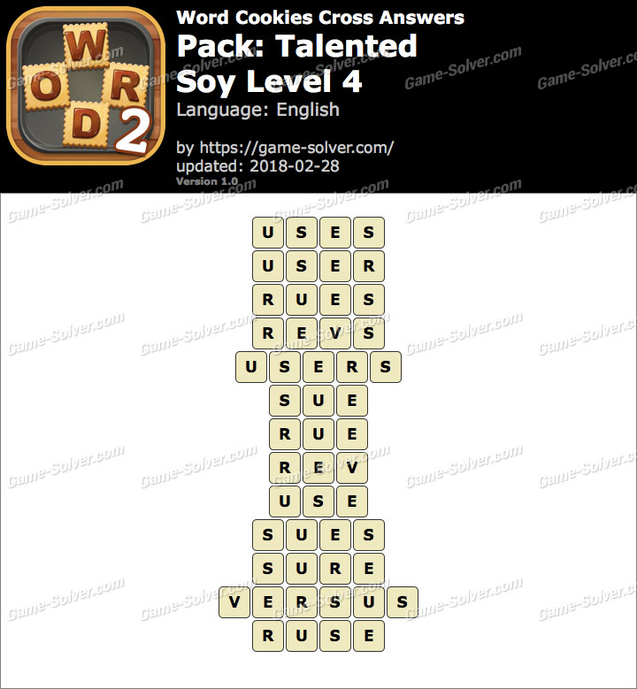 Word Cookies Cross Talented-Soy Level 4 Answers