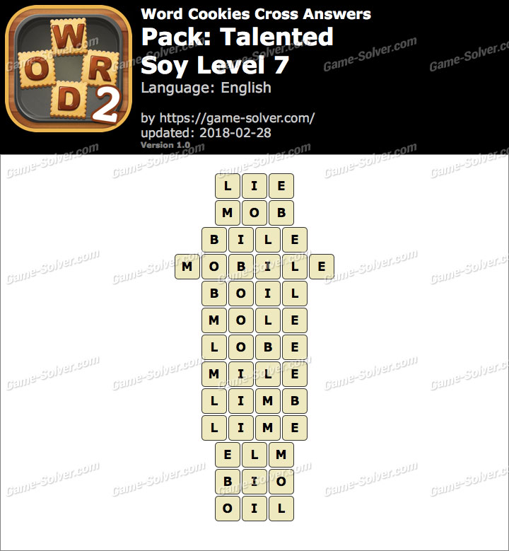Word Cookies Cross Talented-Soy Level 7 Answers