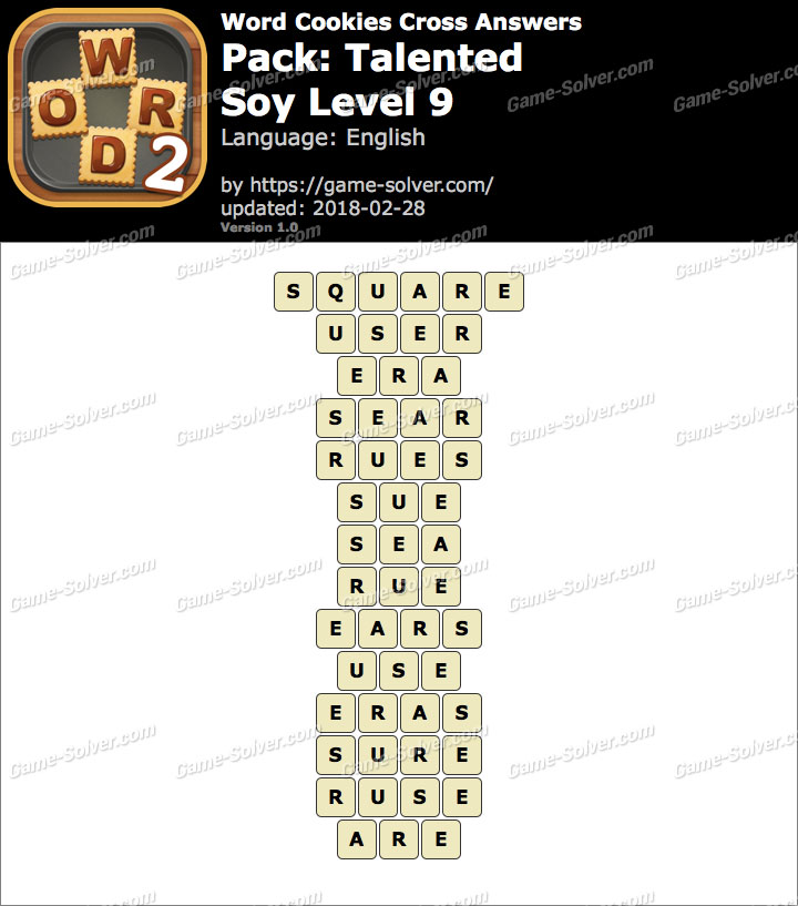 Word Cookies Cross Talented-Soy Level 9 Answers