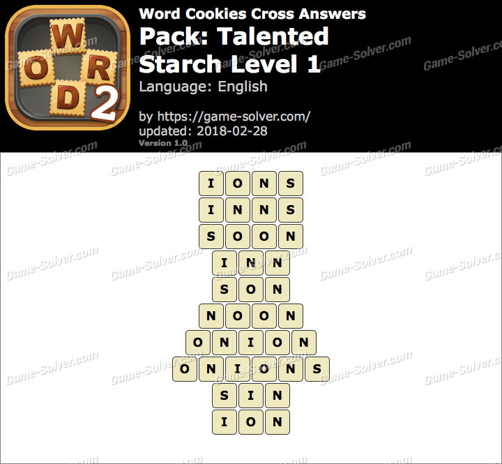 Word Cookies Cross Talented-Starch Level 1 Answers