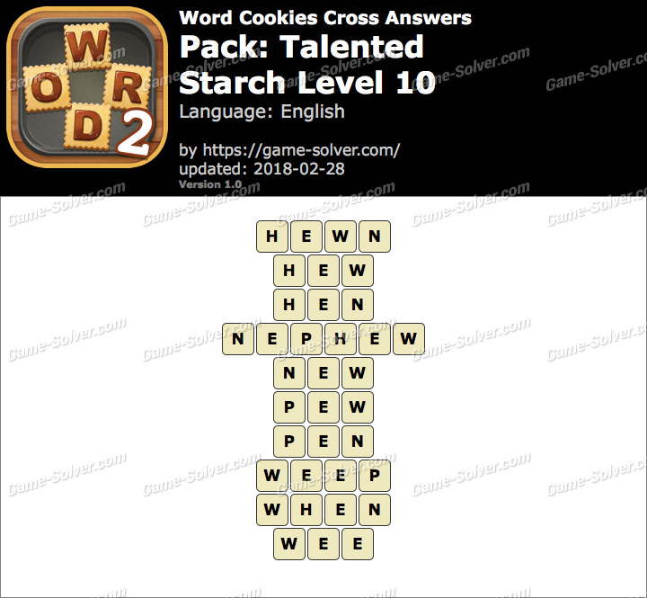 Word Cookies Cross Talented-Starch Level 10 Answers