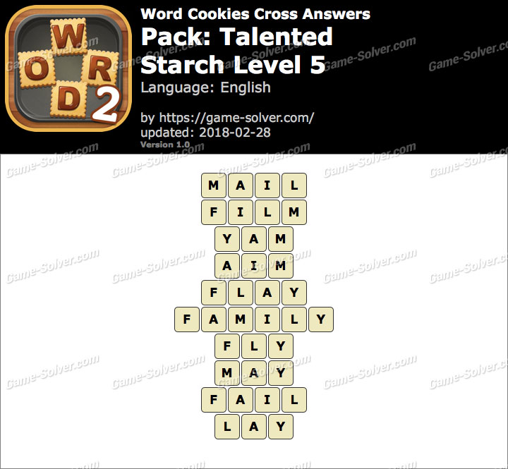 Word Cookies Cross Talented-Starch Level 5 Answers