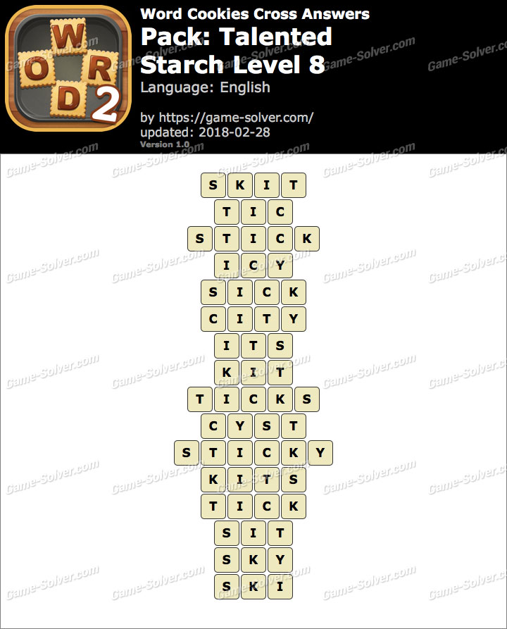Word Cookies Cross Talented-Starch Level 8 Answers