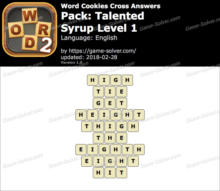 Word Cookies Cross Talented-Syrup Level 1 Answers