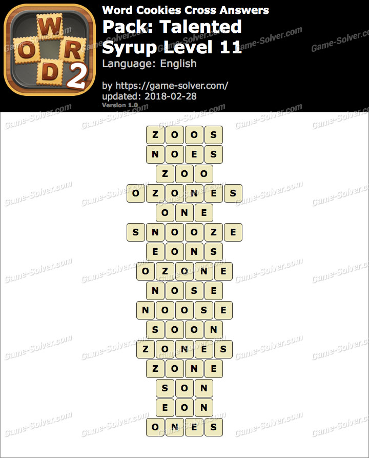 Word Cookies Cross Talented-Syrup Level 11 Answers