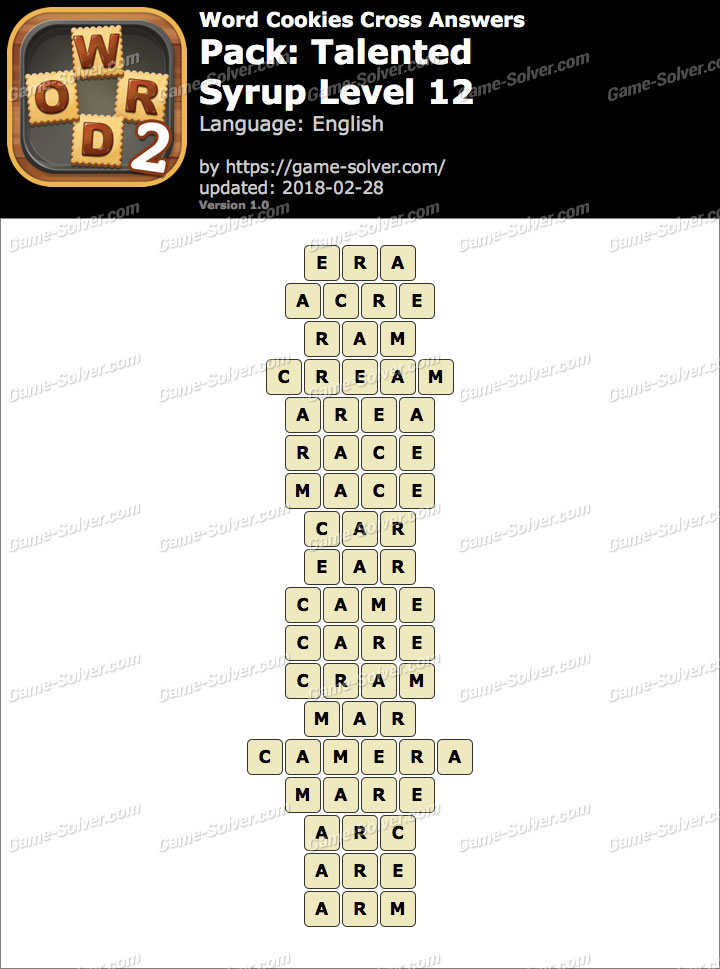Word Cookies Cross Talented-Syrup Level 12 Answers