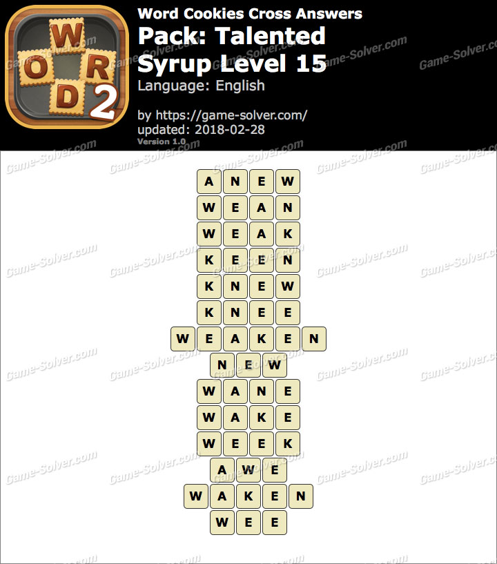 Word Cookies Cross Talented-Syrup Level 15 Answers