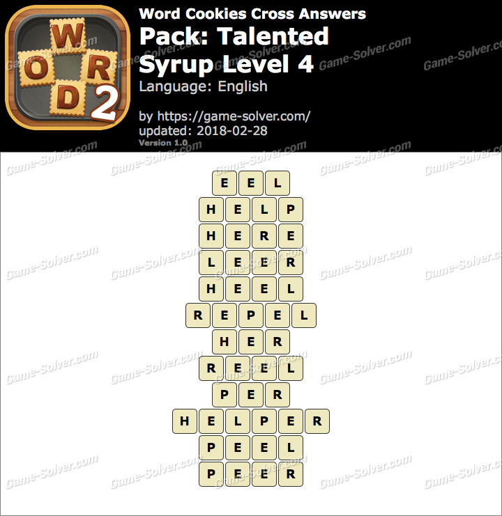 Word Cookies Cross Talented-Syrup Level 4 Answers