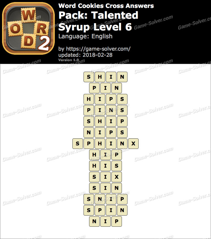 Word Cookies Cross Talented-Syrup Level 6 Answers