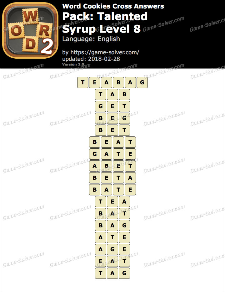 Word Cookies Cross Talented-Syrup Level 8 Answers