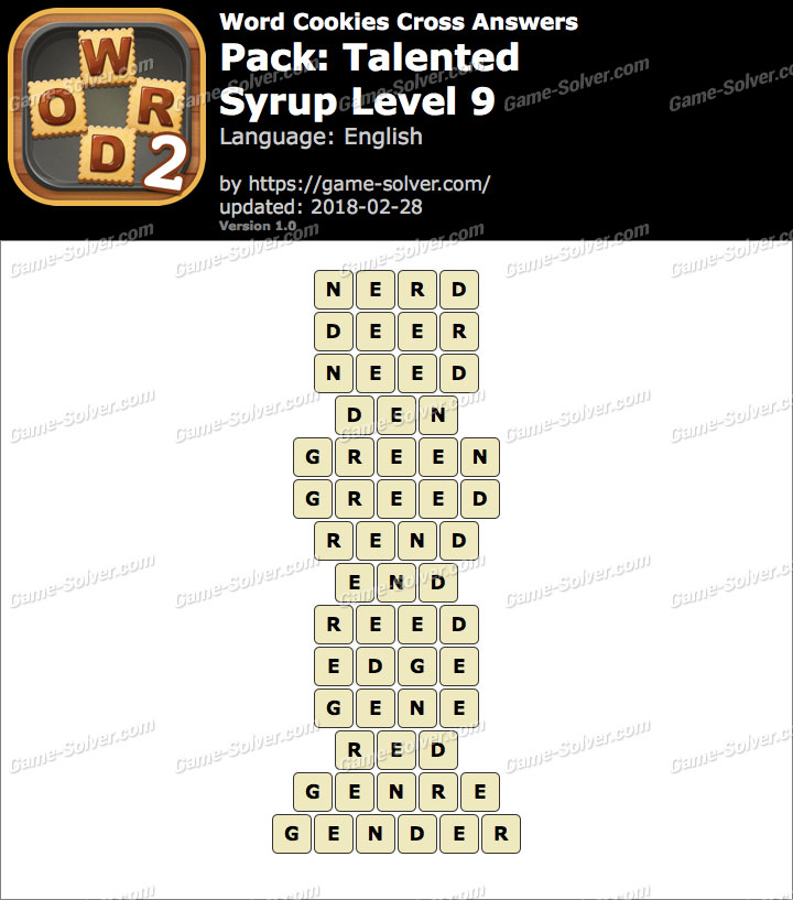 Word Cookies Cross Talented-Syrup Level 9 Answers