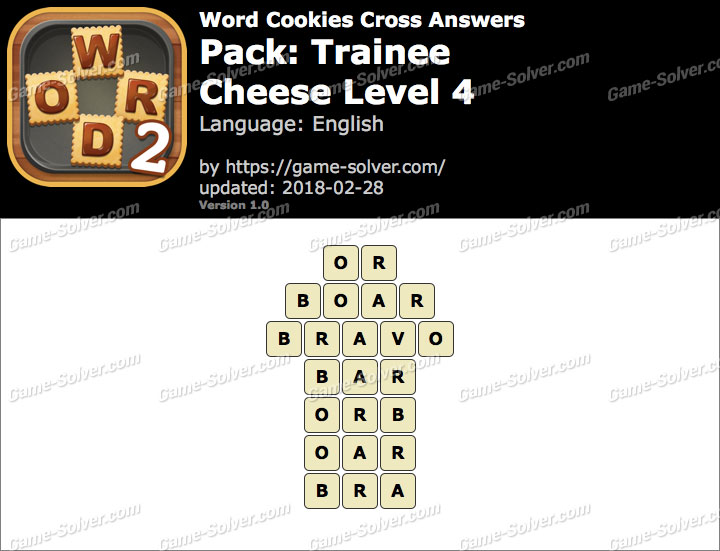 Word Cookies Cross Trainee-Cheese Level 4 Answers