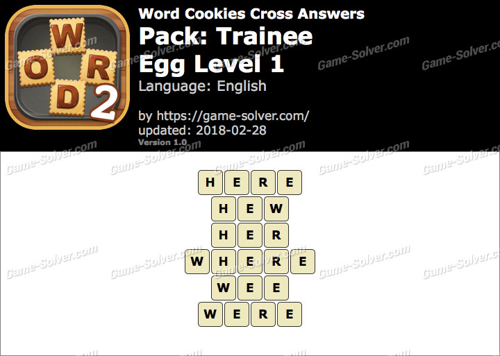 Word Cookies Cross Trainee-Egg Level 1 Answers