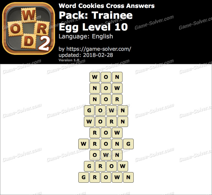 Word Cookies Cross Trainee-Egg Level 10 Answers