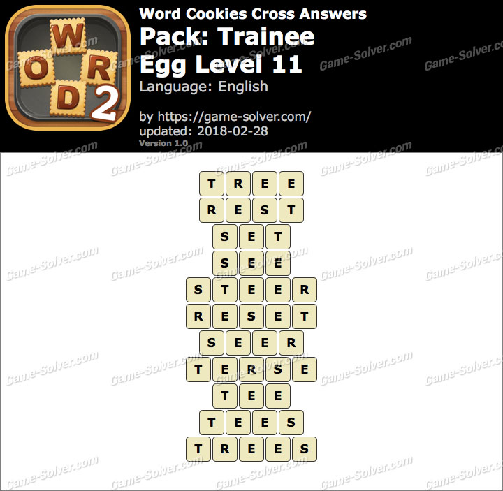 Word Cookies Cross Trainee-Egg Level 11 Answers