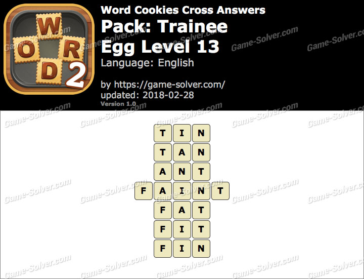 Word Cookies Cross Trainee-Egg Level 13 Answers