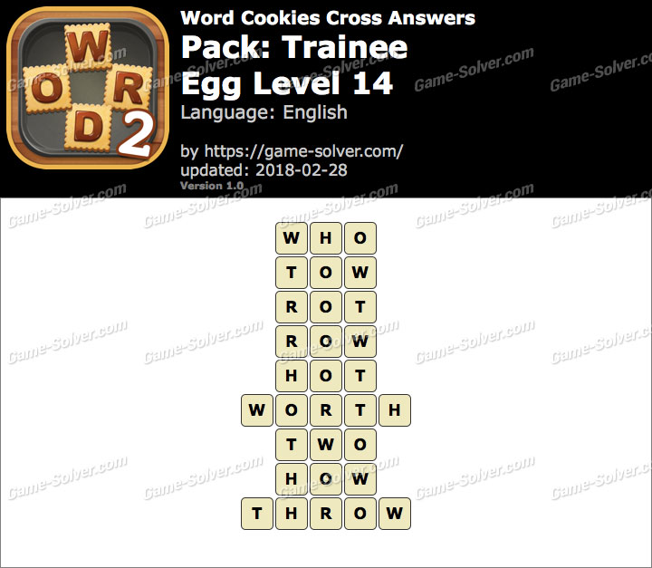 Word Cookies Cross Trainee-Egg Level 14 Answers