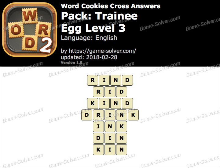 Word Cookies Cross Trainee-Egg Level 3 Answers