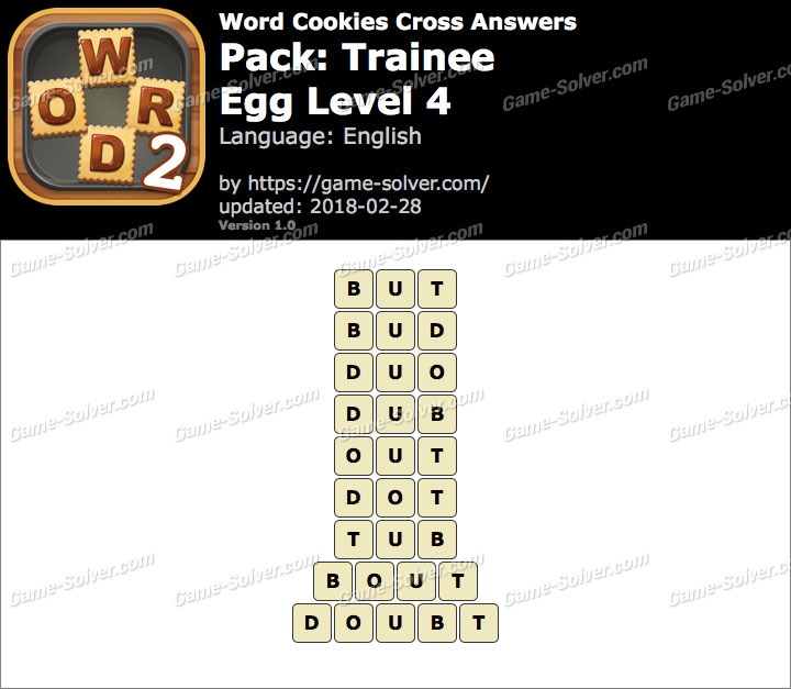 Word Cookies Cross Trainee-Egg Level 4 Answers