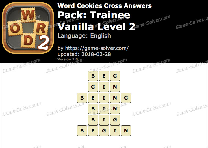 Word Cookies Cross Trainee-Vanilla Level 2 Answers
