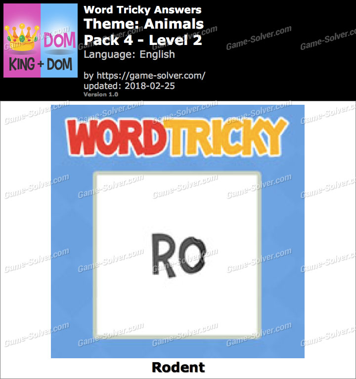 Word Tricky Animals Pack 4-Level 2 Answers