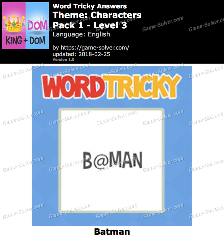 Word Tricky Characters Pack 1-Level 3 Answers
