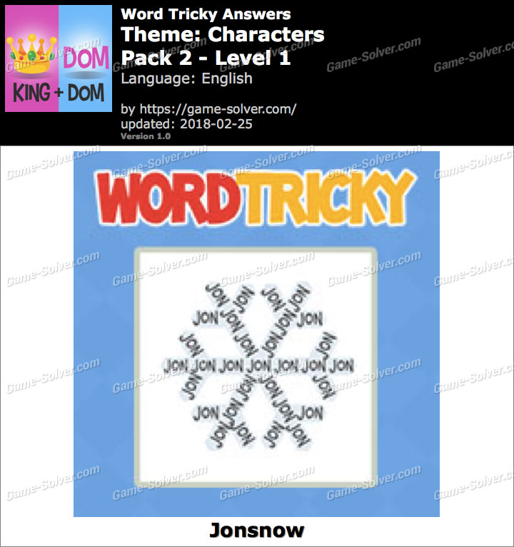 Word Tricky Characters Pack 2-Level 1 Answers