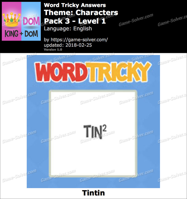 Word Tricky Characters Pack 3-Level 1 Answers