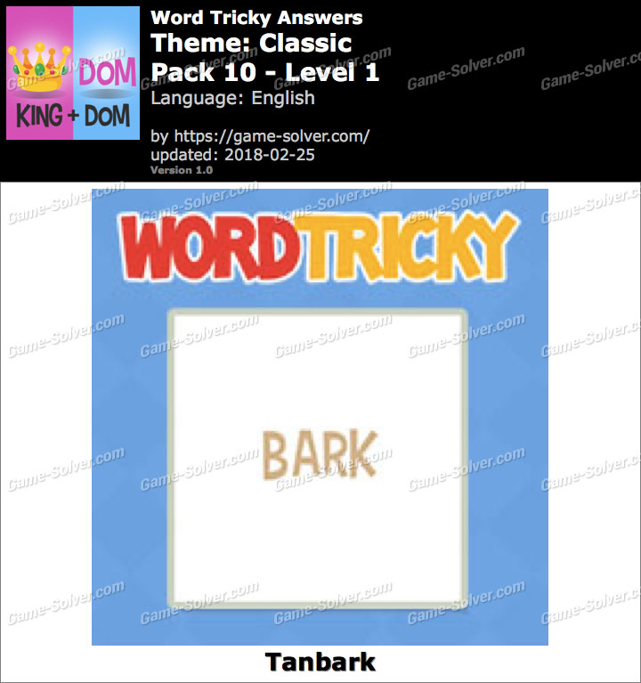 Word Tricky Classic Pack 10-Level 1 Answers