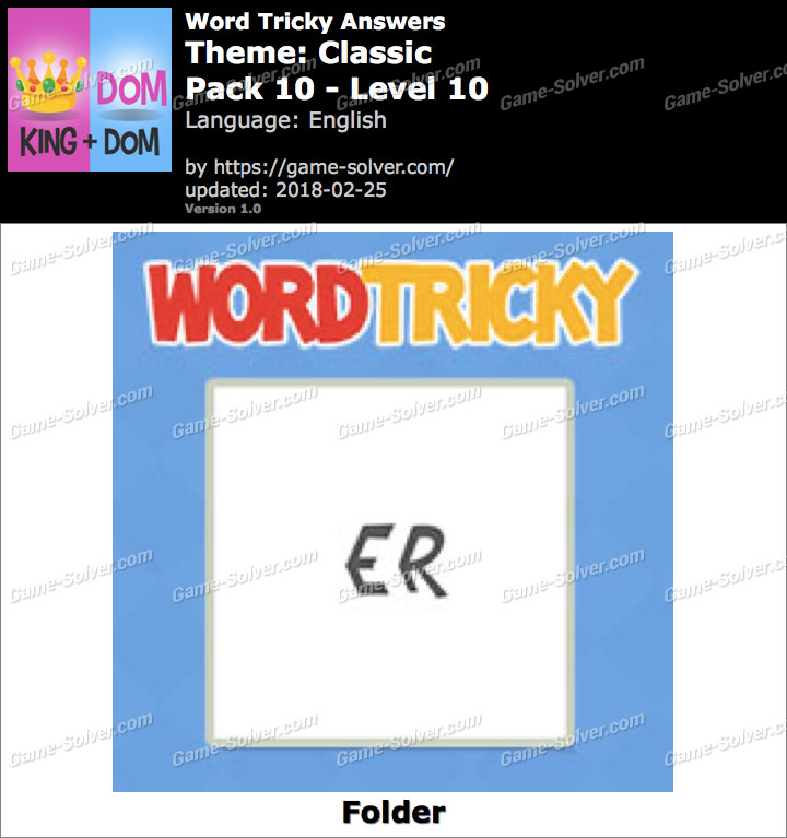 Word Tricky Classic Pack 10-Level 10 Answers