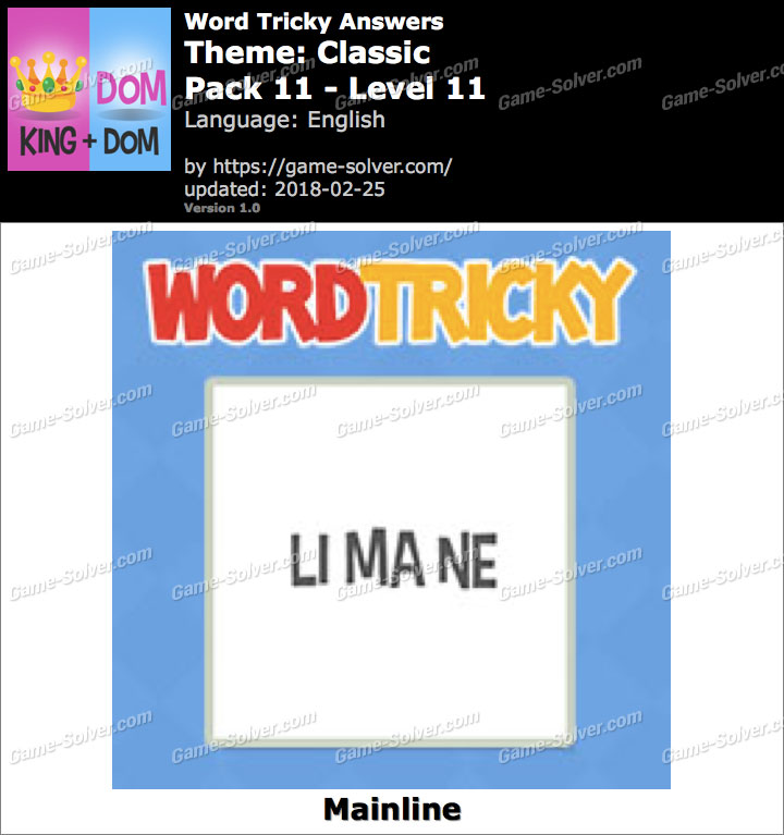 Word Tricky Classic Pack 11-Level 11 Answers