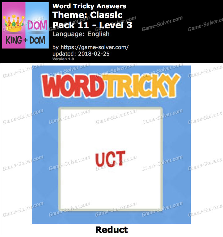 Word Tricky Classic Pack 11-Level 3 Answers