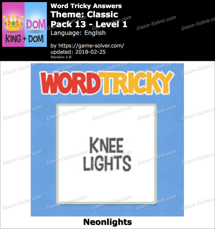 Word Tricky Classic Pack 13-Level 1 Answers