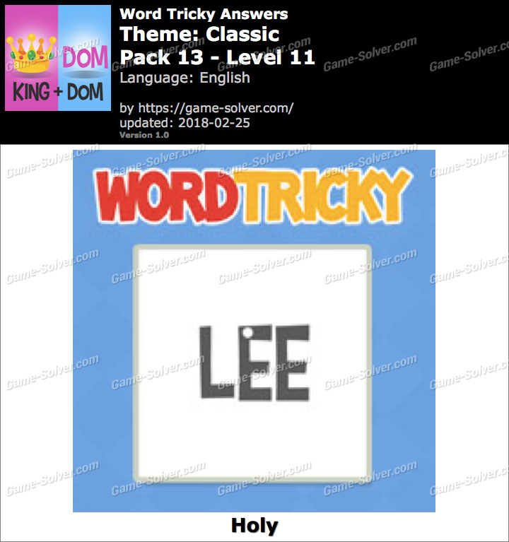 Word Tricky Classic Pack 13-Level 11 Answers