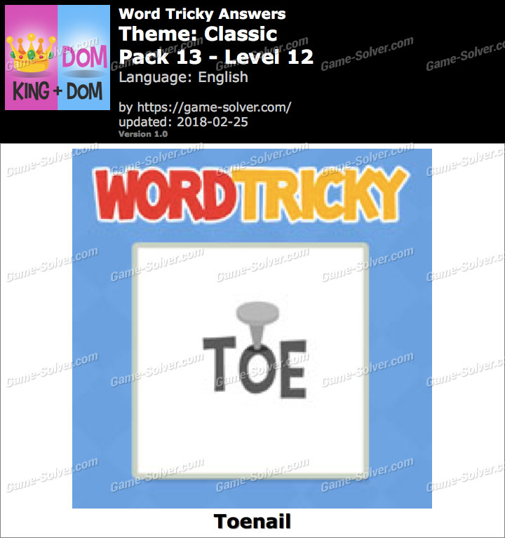 Word Tricky Classic Pack 13-Level 12 Answers