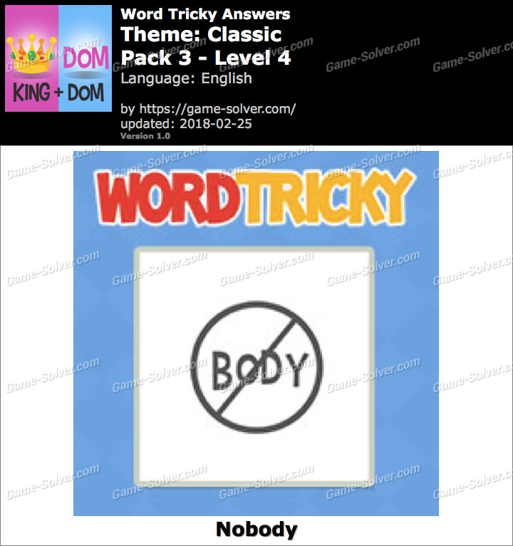 Word Tricky Classic Pack 3-Level 4 Answers